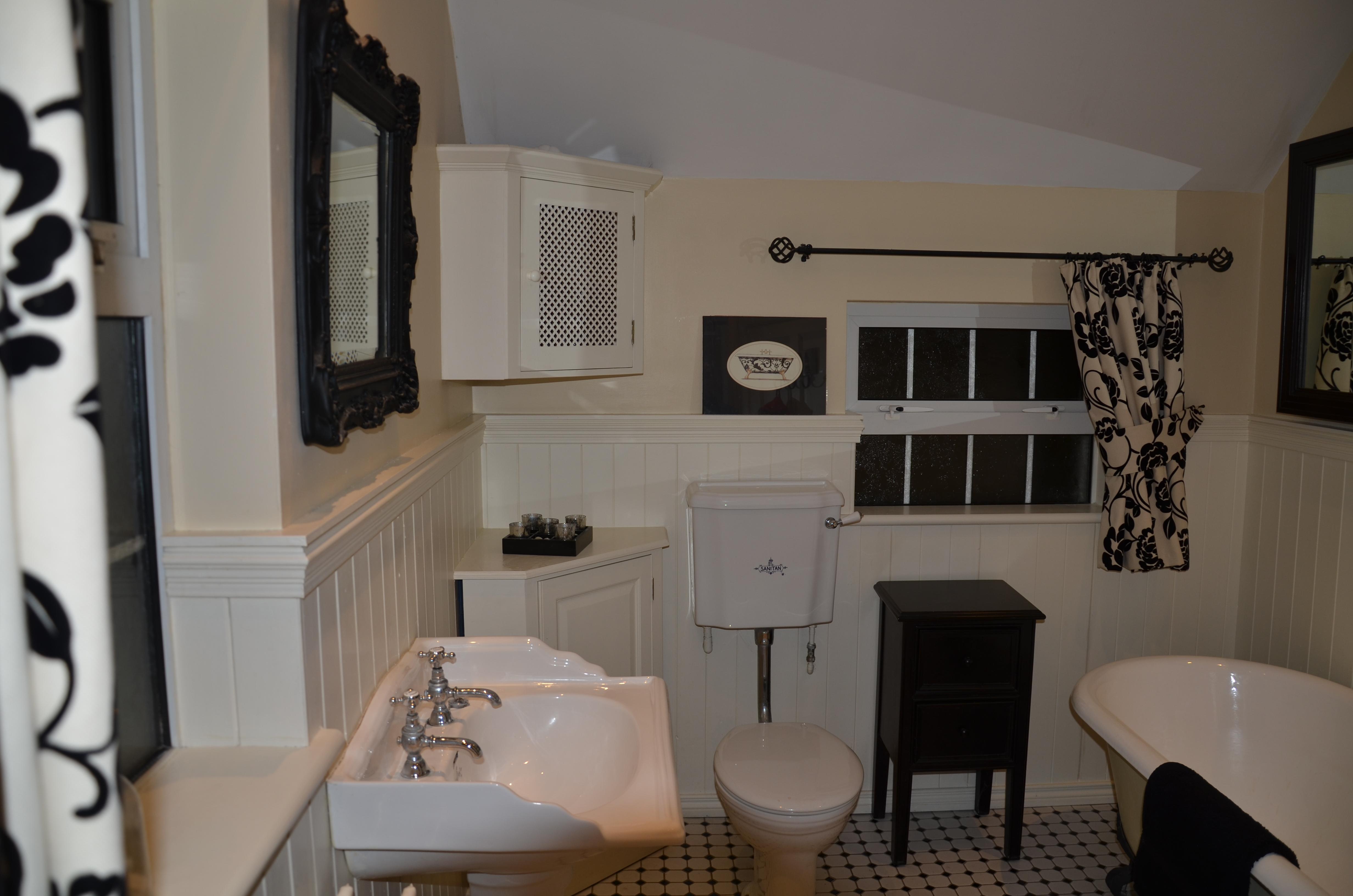 Cream Bathroom with Curtains