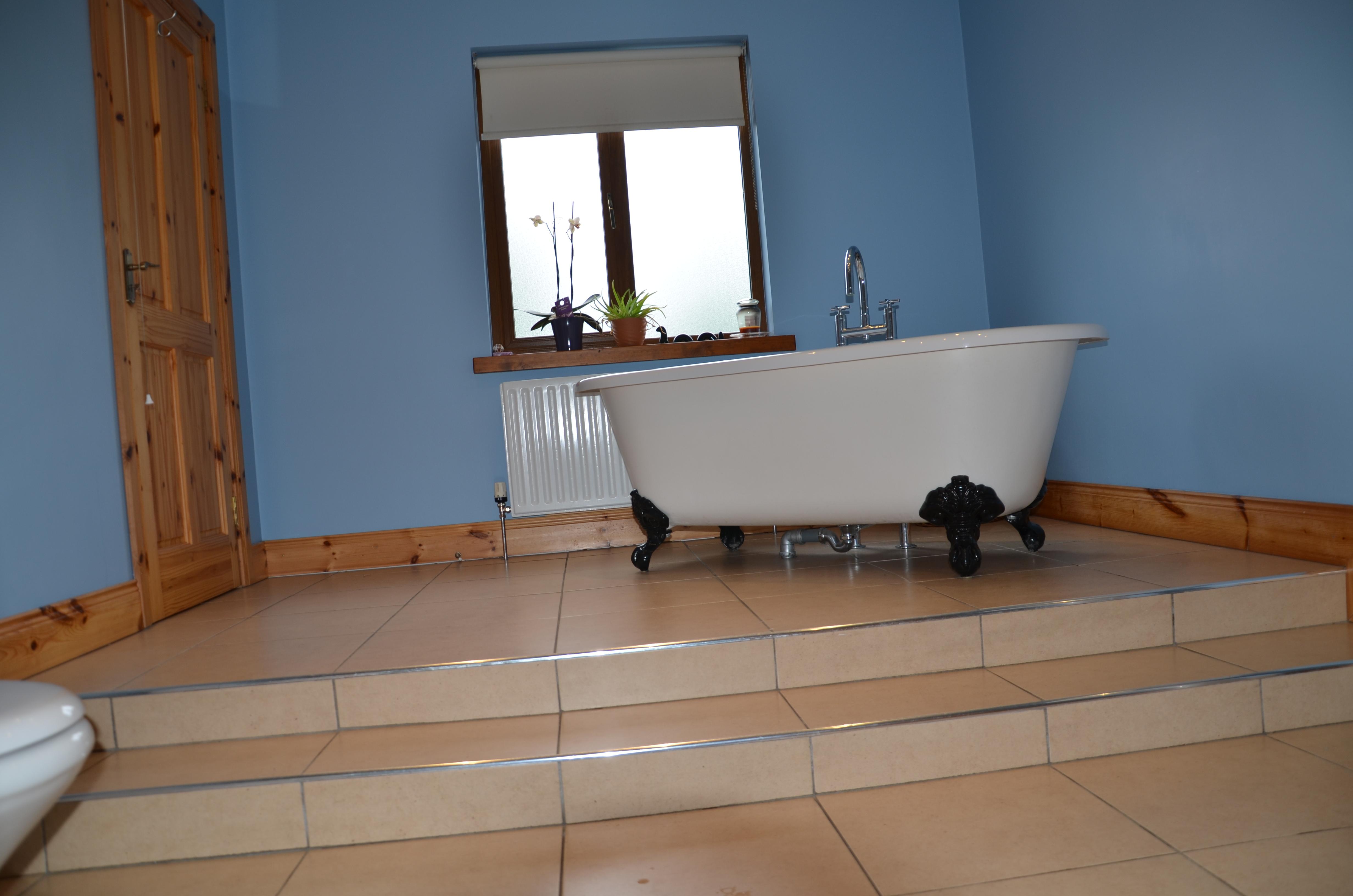 Blue Bathroom with Steps and Bath